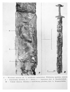 80cm long iron sword inside wooden scabbard from Trzebież, Zalew Szczeciński, 10-11.c.  Linden scabbard (0.2cm thick) with hide (0.2cm) glued on top with resin-based glue and animal hair inside.
