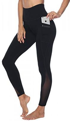 Persit Yoga Pants for Women with Pockets High Waisted Black Mesh Workout Leggings Athletic Gym Fabletics Soft Yoga Leggings - Black - M Cute Workout Leggings, Women's Leggings, Mesh Yoga Pants, Yoga Pants With Pockets, Cotton Leggings, Stylish Outfits, Stylish Clothes, Muslim, Pants For Women