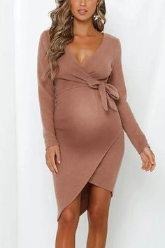 The maternity long sleeve strap dress with deep v neck and long sleeve and stripe belt is a good choice of fashion and Long Sleeve Maternity Dress, Maternity Fashion Dresses, Cute Maternity Outfits, Stylish Maternity, Pregnancy Outfits, Maternity Wear, Pregnancy Fashion, Pregnancy Style, Dress Long