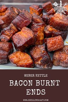 Bacon Burnt Ends Using Slab Bacon - Grilling Recipes With Bacon Ends, Bacon Recipes, Chicken Recipes, Pork Bacon, Smoked Bacon, Cooking Bacon, Cooking Recipes, Smoked Chicken Breast Recipe
