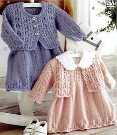 Pinafore Dress with Cardigan free knit pattern by claire stone Knitting For Kids, Baby Knitting Patterns, Crochet For Kids, Free Knitting, Crochet Baby, Knit Crochet, Knit Baby Dress, Knitted Baby Clothes, Dress With Cardigan