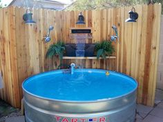How to Build Stock Tank Soaking Swimming Pool System Project is an amazing way to be able to privately in your own backyard to cool off from the heat. Stock Pools, Stock Tank Pool, Patio Diy, Diy Pool, Backyard Projects, Diy Projects, Backyard Ideas, Backyard Pools, Project Ideas