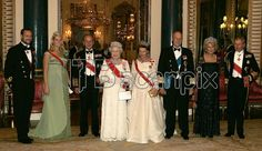 From left: Norway's Crown Prince Haakon and Crown Princess Mette-Marit, Britain's Duke of Edinburgh and Queen Elizabeth II, Norway's Queen Sonja and King Harald V, Camilla, Duchess of Cornwall and Britain's Prince Charles pose for photographs before attending a banquet inside Buckingham Palace in London, Tuesday Oct. 25, 2005. The King and Queen of Norway, with the Crown Prince and Princess are visiting the UK as guests of Queen Elizabeth II from October 25-27, to mark the Centenary of…