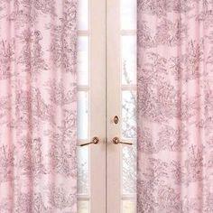 Sweet Jojo Designs Pink Brown Toile Window Panels (Panel-PinkBrownToile)