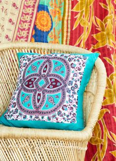Turquoise and Pink Medallion Pillow. | Earthbound Trading Co.