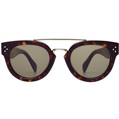 Céline Preppy Sunglasses ($300) ❤ liked on Polyvore featuring accessories, eyewear, sunglasses, glasses, brown, round frame glasses, tortoise shell sunglasses, round frame sunglasses, brown sunglasses and celine glasses