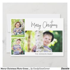 "White ""Merry Christmas"" greeting card with 3 of your favorite photos. The back of this card is green with white polka dots.  #zazzlemade Personalised Christmas Cards, Holiday Greeting Cards, Photo Greeting Cards, Family Picture Collages, Merry Christmas Photos, Johnson Family, Green, Polka Dots, Building"