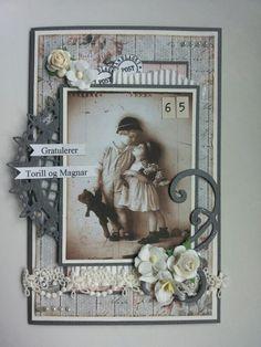Et par fyller 65 år Shabby Chic Cards, Paper Frames, Vintage Cards, Beautiful Hands, Handmade Cards, Nostalgia, Mixed Media, Card Making, Collage