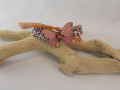 bracelet papilon macramé et liberty : Bracelet par les-creations-du-sud