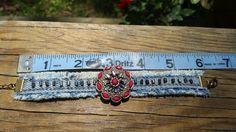 Fuchsia and Denim Bracelet by DenimReDooz on Etsy