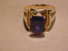 Large Blue Sapphire synthetic set in 10K Gold Setting
