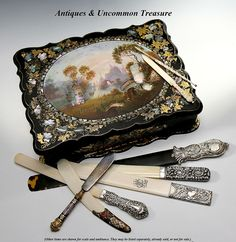 Antique English Victorian Papier Mache Slope, Lap Desk - a collection of page turners or letter openers, all Victorian era.