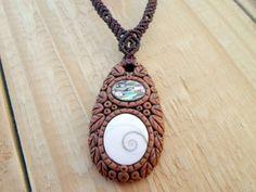 FREE SHIPPING Shiva Eye Shell Abalone claymacrame by SelinofosArt