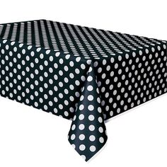A Pretty Addition To Your Table.  Make sure your table is perfect with this Black and White Polka Dot Tablecover.  Use this plastic tablecovering for birthdays, picnics, barbecues, pool parties, or book club gatherings. Your table will look spectacular and be protected with this polka dot tablecloth.  54″ x 108″.  Made of plastic.  Stock up on disposable tableware for all of your special occasion needs!  If you want a simple cleanup for your next gathering, use paper and plastic tableware…