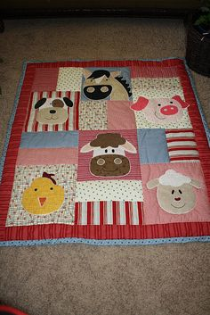 Pieced animal baby quilt
