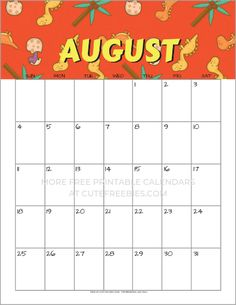 Free Printable August 2019 Calendar - cute calendars and monthly planners for August 2019 and the rest of the year! Dog Calendar, Cute Calendar, Free Printable Calendar, 2019 Calendar, Calendar Pages, Calendar Design, Printable Planner, Free Printables, Monthly Planner