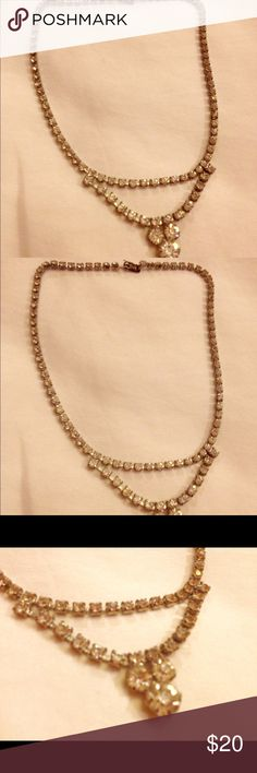 """Vintage rhinestone or  choker necklace. SALE This has lots of bling. I question if it might be crystal because it reflects so many colors of light. This is beautiful. It is 15"""" long. It can use a good cleaning Vintage Jewelry Necklaces"""
