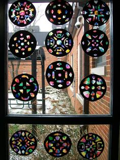 Radial Symmetry. Stained Glass windows. Paper cutting & tissue paper.