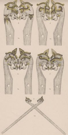 """Gokstad tent pole heads Scanned from """"The Viking-Ship discovered at Gokstad in Norway"""" by N. Nicolaysen 1882 (now out of copyright)"""