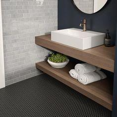 Porcelain Hexagon Tile, Hexagon Mosaic Tile, Ceramic Wall Tiles, Bathroom Flooring, Bathroom Wall, Downstairs Bathroom, Master Bathroom, Bathroom Stuff, Bathroom Signs