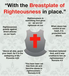 Breastplate of Righteousness. Christian faith Bible verses.  Righteousness scripture. Right standing in God.  Ladies Bible Study / Women's Ministry