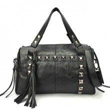 Vintage Style Rivets Black Tassel Handbag &Shoulder Bag