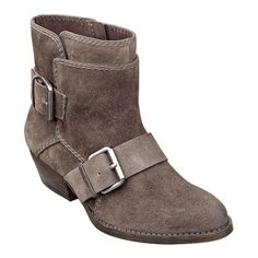 """Love Love Love these in blue suede & grey suede, my next winter boots lol.  i need to get rid of some Biker chic almond toe 1 1/4"""" bootie with buckle hardware.  Side zipper closure.  Leather upper."""