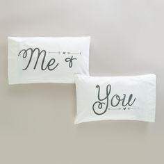 Made of soft, white cotton with whimsical text printed in gray, our pillowcases are a perfect place to peacefully rest your head. Crafted of cotton Set of 2 Machine wash cold; warm iron if necessary Made in India x Bedroom Sets, Bedroom Decor, Master Bedroom, Bedrooms, Linen Comforter, World Market, Interior S, Bedding Collections, Bed Pillows