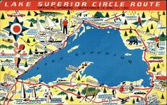 The Lake Superior Circle Tour is a wonderful scenic travel road trip. View Lake Superior from three state and two countries! Lake Superior Map, Lake Superior Agates, Superior Wisconsin, Bay Lake, Michigan Travel, Upper Peninsula, Just Dream, Vintage Design, Great Lakes