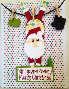 Christmas handmade card.  Santa's punch art made by Wanda Perez