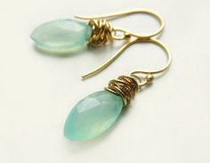 Tidal Earrings with Aqua Chalcedony Marquis Stones Wrapped in Gold Cocktail Prom Bridal by FlowDesigns (38.00 USD) http://ift.tt/1j8wvbK