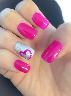 Nail design hot pink with hearts