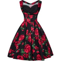 Red Rose Green Leaf Madison Dress ($49) ❤ liked on Polyvore featuring dresses, green day dress, vintage style dresses, rose dress, vintage looking dresses and rosette dress