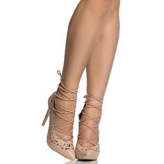 CiCiHot Nude Faux Patent Leather Lace Up Pointed Toe Heels ($46) ❤ liked on Polyvore featuring shoes, pumps, lace up pumps, nude footwear, pointy toe shoes, nude shoes and laced shoes