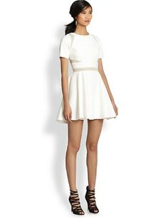 ELIZABETH AND JAMES Andi Sheer-Paneled Fit-and-Flare Dress