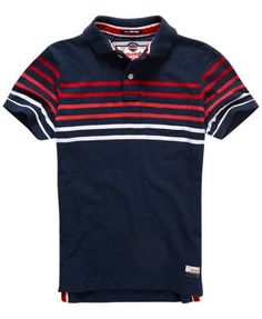 deep indigo marl Superdry Lagoon Stripe Polo Shirt