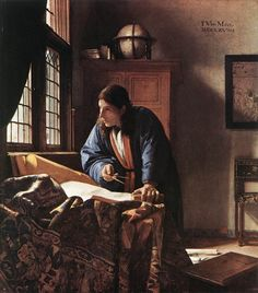Johannes Vermeer; famous for his interiors, we can see why. but he adds more to this composition than detail and lights and darks. The figure is active; leaning and balanced, expression: thinking and the lines add activity to the scene instead of his usual serenity.