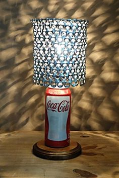 Coca Cola Coke Soda Can Lamp with Pull Tab Lamp Shade.