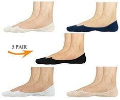 women No Show Socks 100% Cotton Liner Socks Non-Slip Loafer Low Cut Boat 5-Pairs #yearningCeline #NoShow