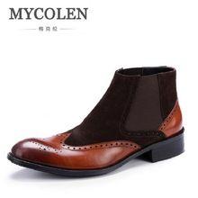 Mycolen Мужская обувь мягкие кожаные Челси Мужские ботинки Для мужчин  Бизнес Роскошная обувь черные удобные слипоны 62d8925afe217