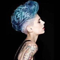 Drop-dead gorgeous #Mohawk with 3-D blue hair by Bonce Salons in the U.K. #boncesalons #hotonbeauty @hotonbeauty