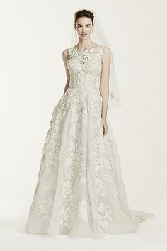 Oleg Cassini Petite Tank Lace Ball Gown with Beaded Applique Style - 7CWG658 - Champagne/Ivory - $1750.00