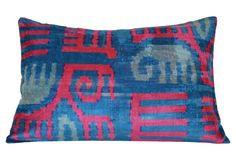 Gaby Ikat 16x24 Pillow, Blue