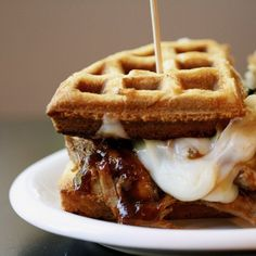 Belgian Waffles and Bourbon Pulled Pork make this Wafflich the ultimate dish!