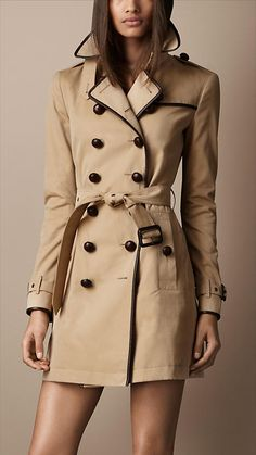 Mid-Length Cotton Gabardine Leather Detail Trench Coat   Burberry = Perfection ♥