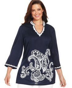 Charter Club Plus Size Top, Three-Quarter-Sleeve Paisley Tunic - Plus Size Tops - Plus Sizes - Macy's