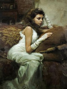Artist: Jeremy Mann {contemporary figurative impressionist female beautiful young female seated woman painting} redrabbit7.com