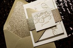 Gold Wedding Invitation Calligraphy Invitation by FlairNecessities, $150.00