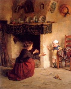 Baby's First Steps -  by Pierre Edouard Frere (1819 - 1886, French)