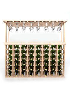 48 Bottle Wine and Stemware Rack - Oak : Wine Racks - Wine Rack Storage & Cellar Design Wine Cellar Racks, Wine Bottle Rack, Wood Wine Racks, Bottle Wall, Hanging Wine Glass Rack, Wine Glass Shelf, Glass Shelf Brackets, Glass Shelves, Wine Rack Storage